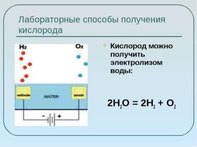 Лабораторные способы получения кислорода Кислород можно получить электролизом...