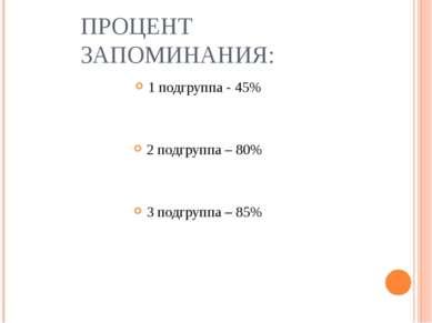 ПРОЦЕНТ ЗАПОМИНАНИЯ: 1 подгруппа - 45% 2 подгруппа – 80% 3 подгруппа – 85%