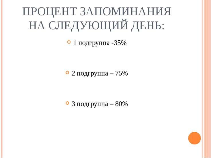ПРОЦЕНТ ЗАПОМИНАНИЯ НА СЛЕДУЮЩИЙ ДЕНЬ: 1 подгруппа -35% 2 подгруппа – 75% 3 п...
