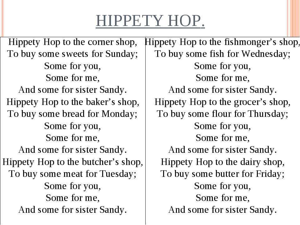 HIPPETY HOP. Hippety Hop to the corner shop, To buy some sweets for Sunday; S...