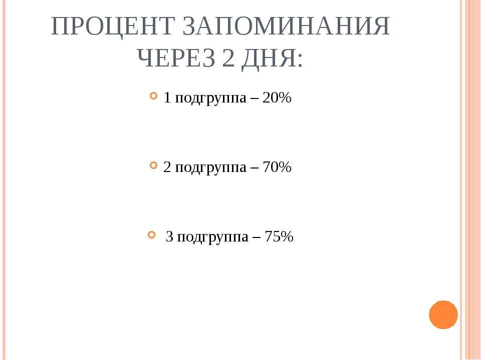 ПРОЦЕНТ ЗАПОМИНАНИЯ ЧЕРЕЗ 2 ДНЯ: 1 подгруппа – 20% 2 подгруппа – 70% 3 подгру...
