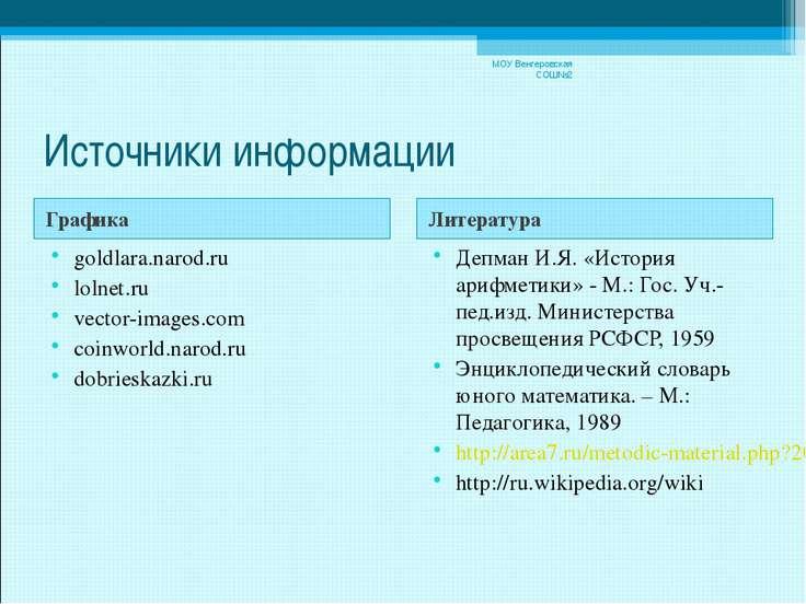 Источники информации Графика Литература goldlara.narod.ru lolnet.ru vector-im...