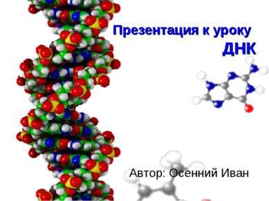 Презентация к уроку ДНК Автор: Осенний Иван