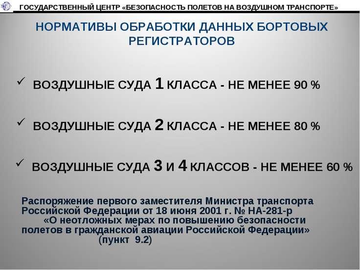 НОРМАТИВЫ ОБРАБОТКИ ДАННЫХ БОРТОВЫХ РЕГИСТРАТОРОВ ВОЗДУШНЫЕ СУДА 1 КЛАССА - Н...
