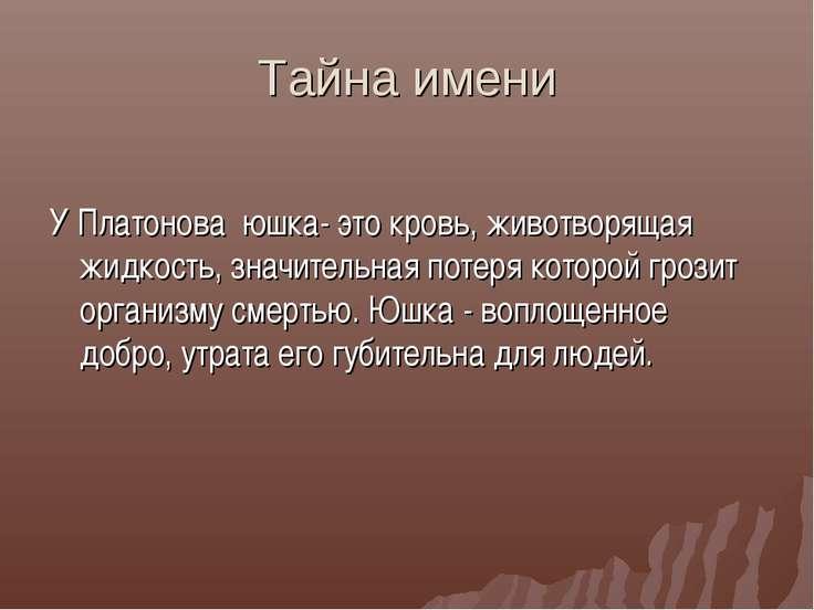 Тайна имени У Платонова юшка- это кровь, животворящая жидкость, значительная ...