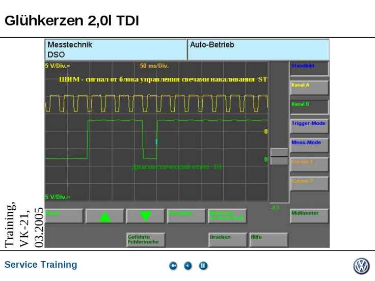 Glühkerzen 2,0l TDI ШИМ - сигнал от блока управления свечами накаливания ST Д...