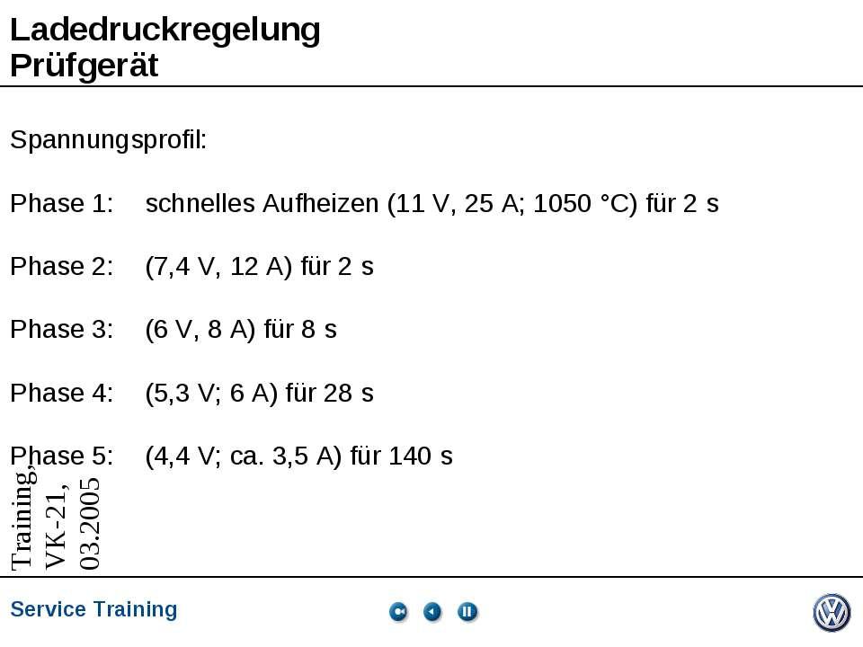 Ladedruckregelung Prüfgerät Spannungsprofil: Phase 1: schnelles Aufheizen (11...