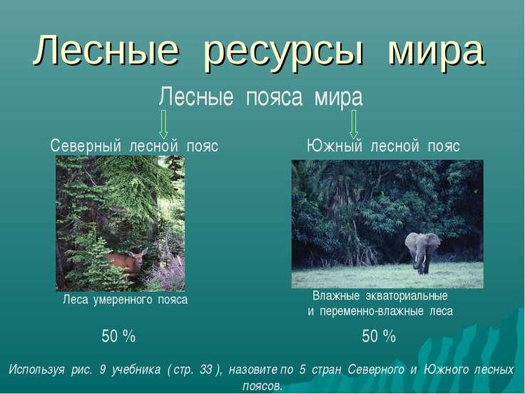 Лесные ресурсы мира Лесные пояса мира Северный лесной пояс Южный лесной пояс ...