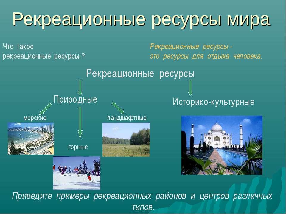 Рекреационные ресурсы мира морские горные ландшафтные Приведите примеры рекре...