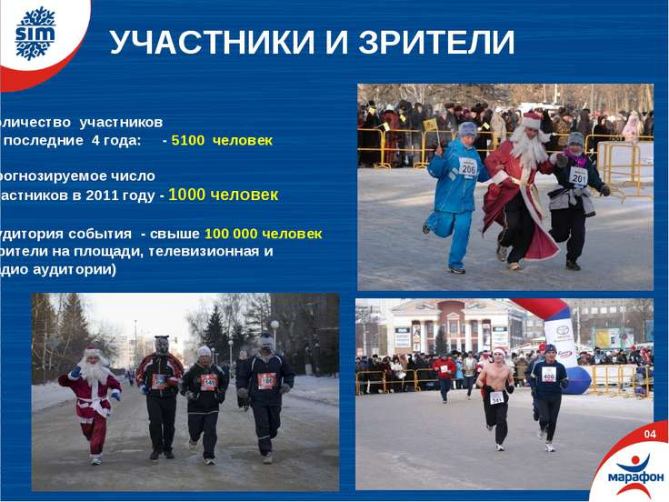 УЧАСТНИКИ И ЗРИТЕЛИ 03 Количество участников за последние 4 года: - 5100 чело...