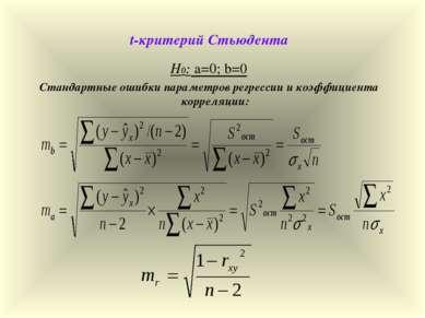 t-критерий Стьюдента Н0: а=0; b=0 Стандартные ошибки параметров регрессии и к...