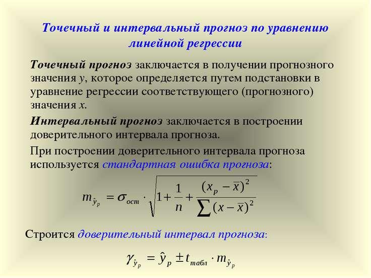 Точечный и интервальный прогноз по уравнению линейной регрессии Точечный прог...