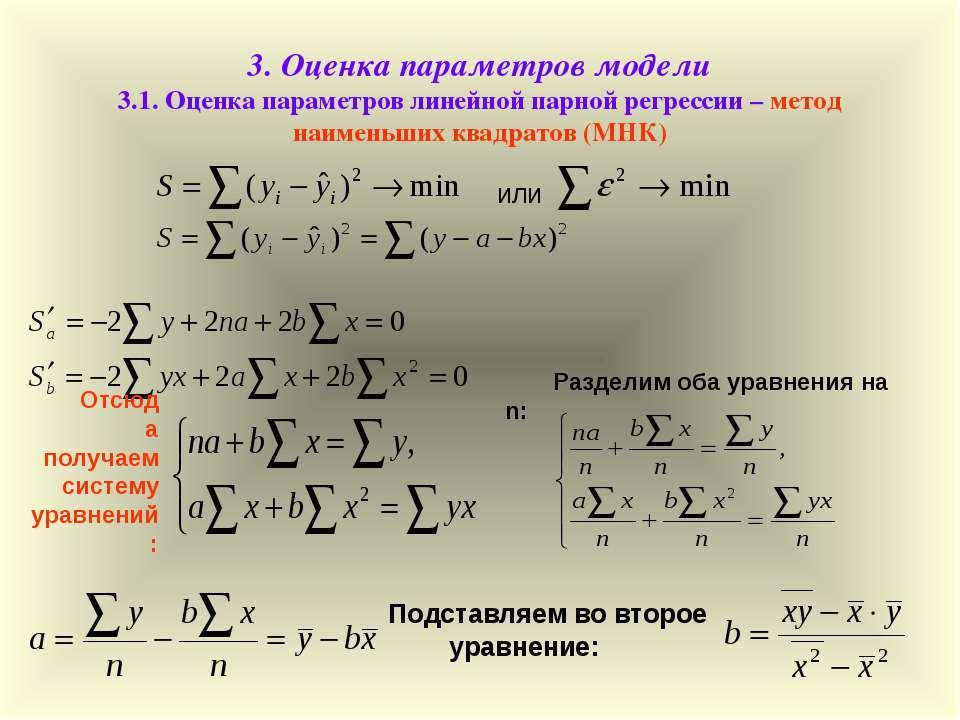 3. Оценка параметров модели 3.1. Оценка параметров линейной парной регрессии ...