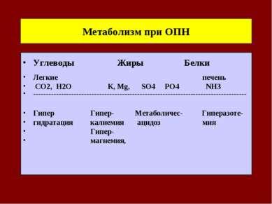 Метаболизм при ОПН Углеводы Жиры Белки Легкие печень СО2, Н2О К, Mg, SO4 PO4 ...