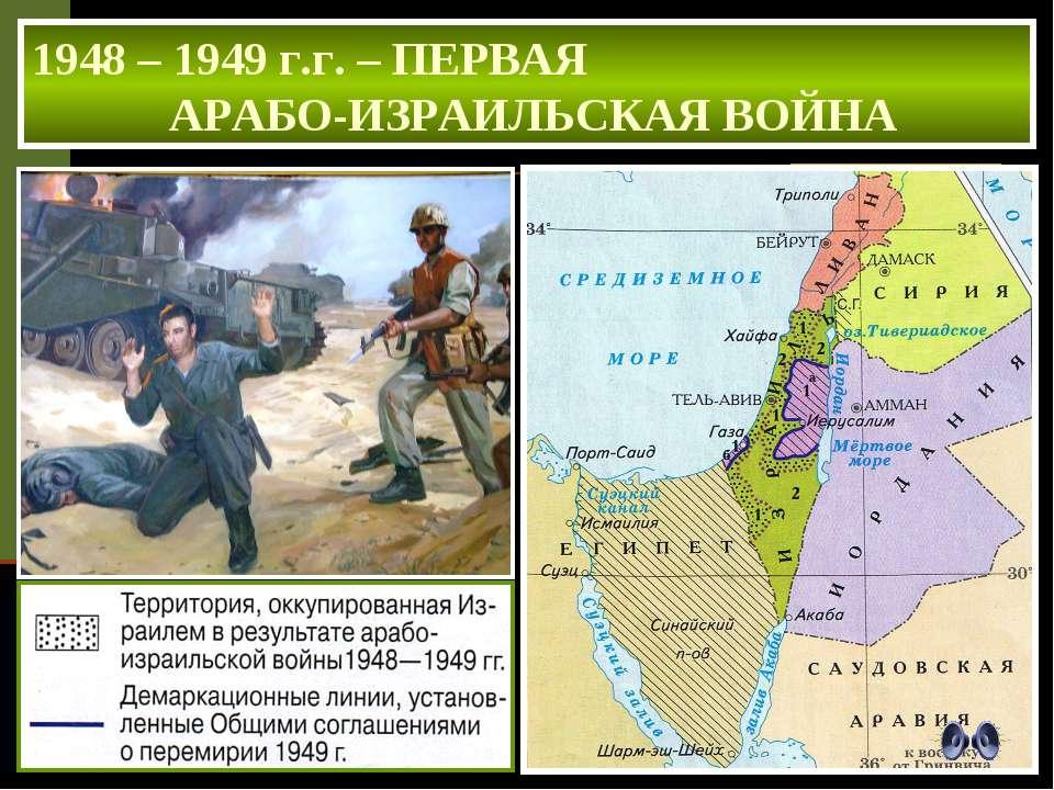 1948 – 1949 г.г. – ПЕРВАЯ АРАБО-ИЗРАИЛЬСКАЯ ВОЙНА ИТОГИ ВОЙНЫ Израиль отстоял...