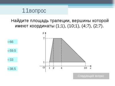 11вопрос Найдите площадь трапеции, вершины которой имеют координаты (1;1), (1...