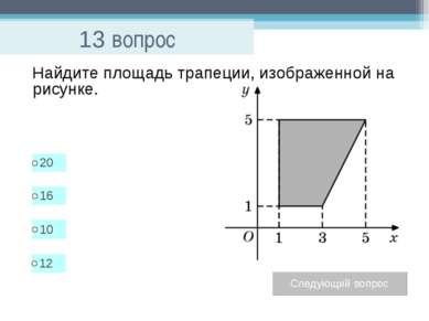 13 вопрос Найдите площадь трапеции, изображенной на рисунке.