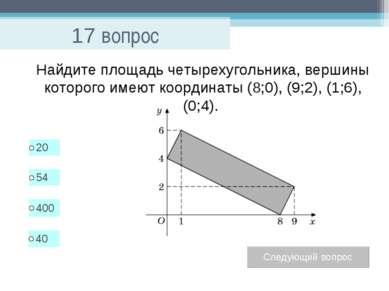 17 вопрос Найдите площадь четырехугольника, вершины которого имеют координаты...