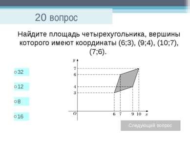 20 вопрос Найдите площадь четырехугольника, вершины которого имеют координаты...
