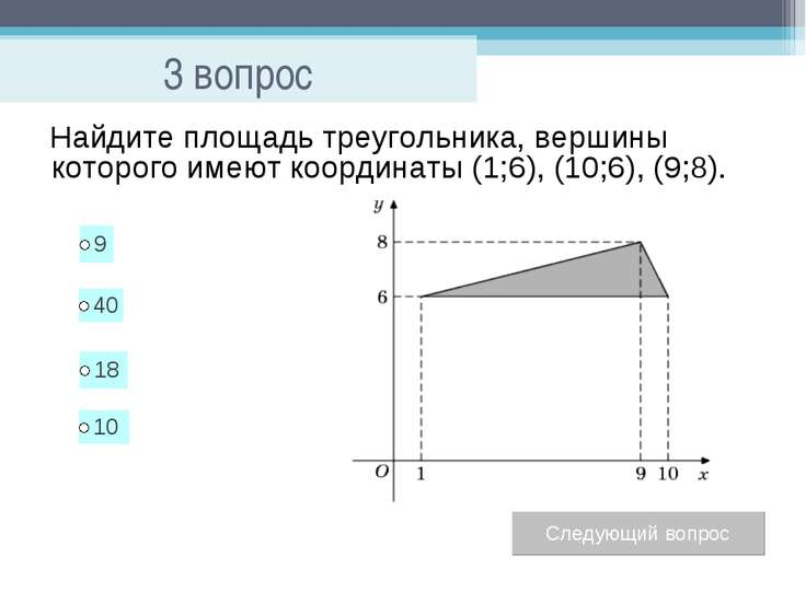 3 вопрос Найдите площадь треугольника, вершины которого имеют координаты (1;6...