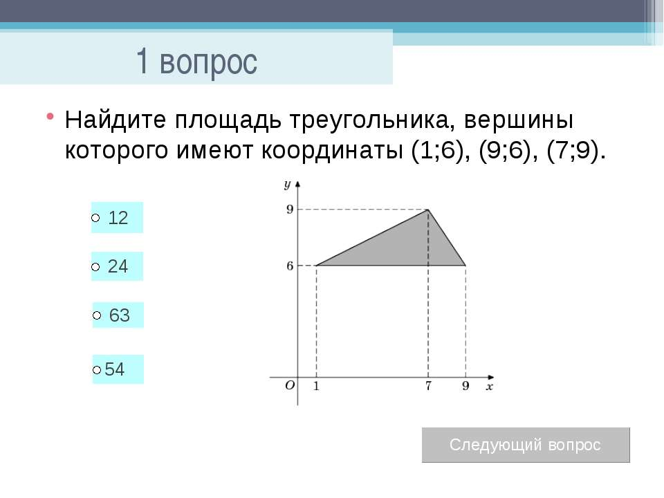 1 вопрос Найдите площадь треугольника, вершины которого имеют координаты (1;6...