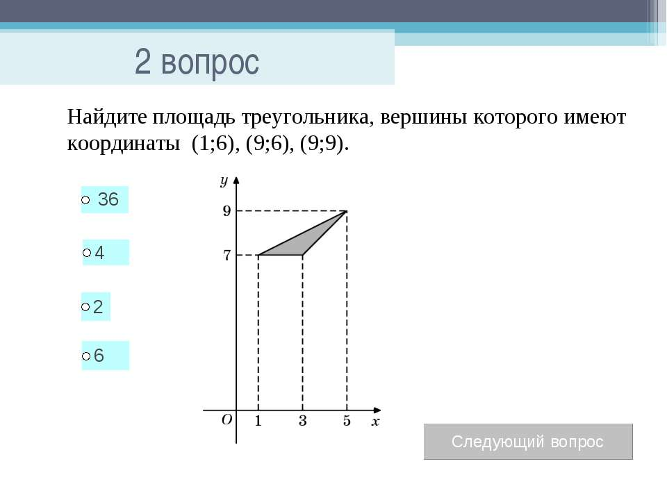 2 вопрос Найдите площадь треугольника, вершины которого имеют координаты (1;6...