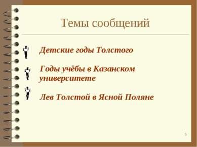 * Темы сообщений Детские годы Толстого Годы учёбы в Казанском университете Ле...