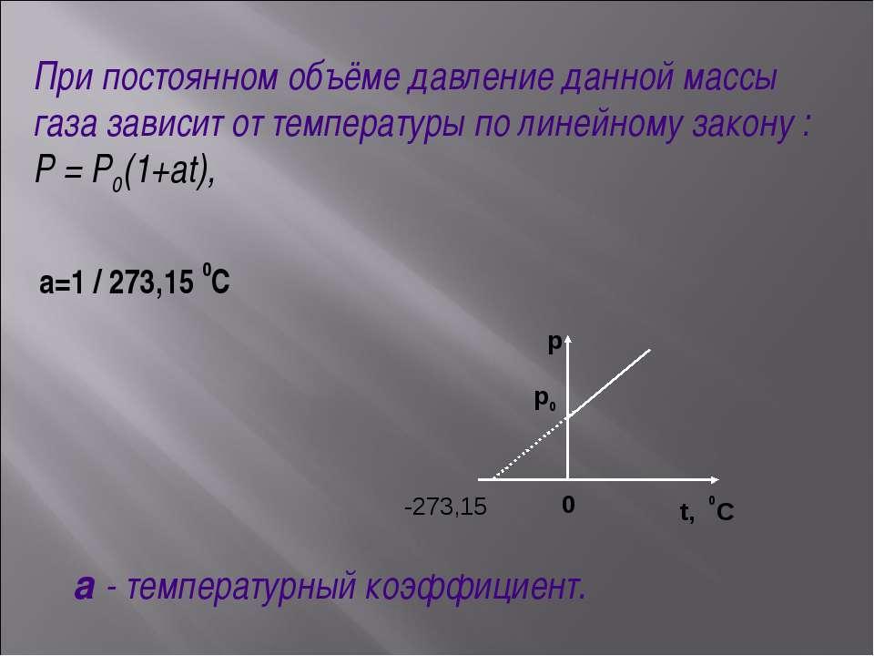 -273,15 p p0 0 t, 0C При постоянном объёме давление данной массы газа зависит...