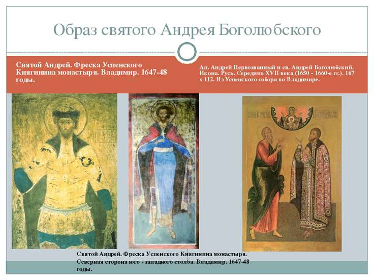 Святой Андрей. Фреска Успенского Княгинина монастыря. Владимир. 1647-48 годы....