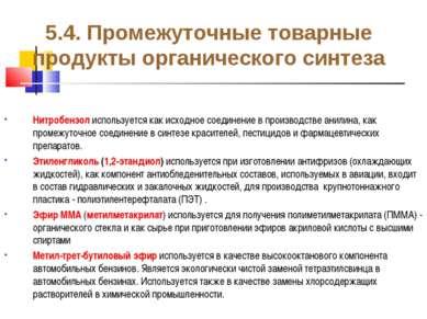 5.4. Промежуточные товарные продукты органического синтеза Нитробензол исполь...