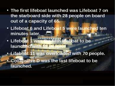 The first lifeboat launched was Lifeboat 7 on the starboard side with 28 peop...