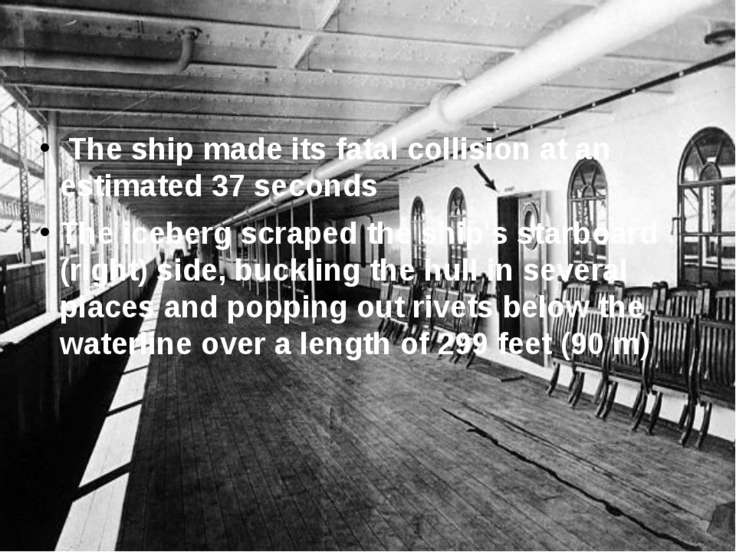 The ship made its fatal collision at an estimated 37 seconds The iceberg scra...