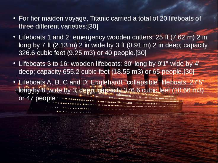 For her maiden voyage, Titanic carried a total of 20 lifeboats of three diffe...