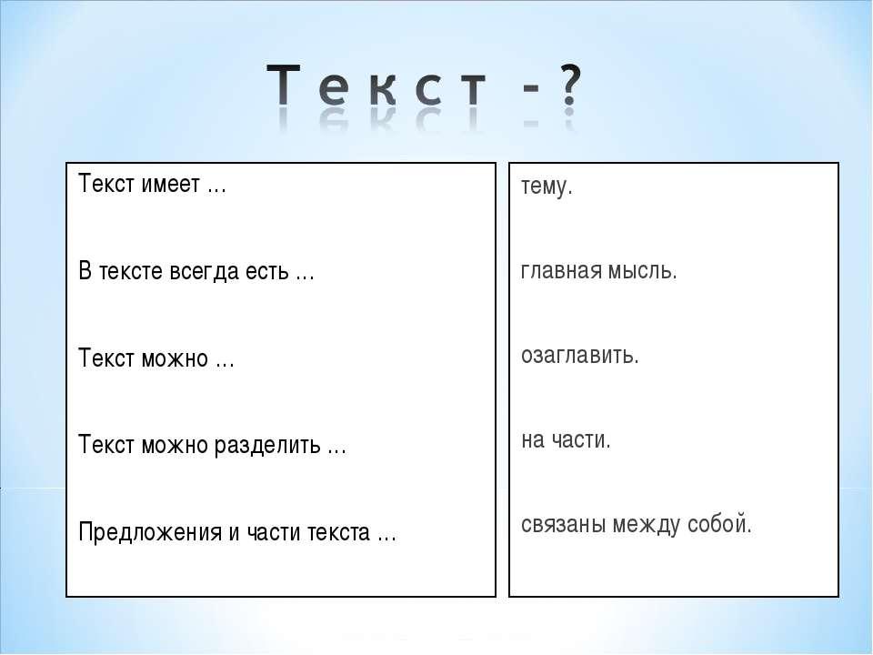 Текст имеет … В тексте всегда есть … Текст можно … Текст можно разделить … Пр...