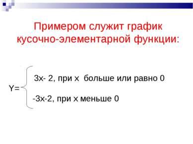 Примером служит график кусочно-элементарной функции: 3x- 2, при x больше или ...