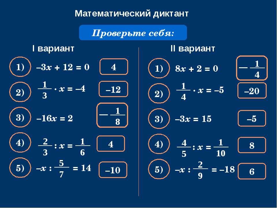 Математический диктант Решите уравнение: –3х + 12 = 0 Проверьте себя: 4 1) –1...