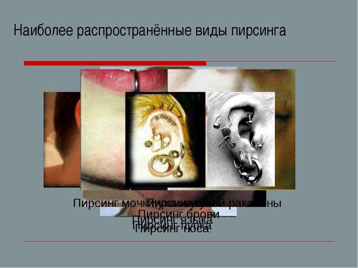 Наиболее распространённые виды пирсинга Пирсинг мочки уха и ушной раковины Пи...