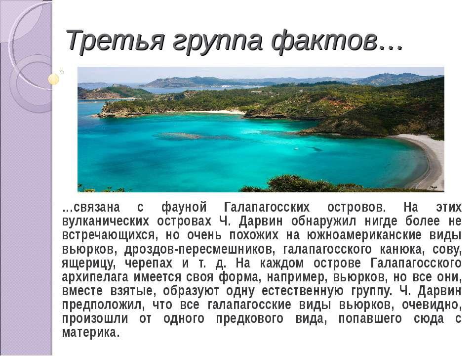 Третья группа фактов… …связана с фауной Галапагосских островов. На этих вулка...