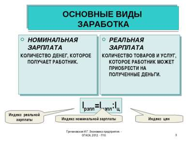 Гречановская И.Г. Экономика предприятия. - ОГАСА, 2012. - Л10. * ОСНОВНЫЕ ВИД...