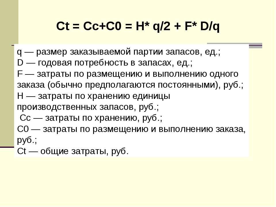Сt = Cc+C0 = H* q/2 + F* D/q q — размер заказываемой партии запасов, ед.; D —...