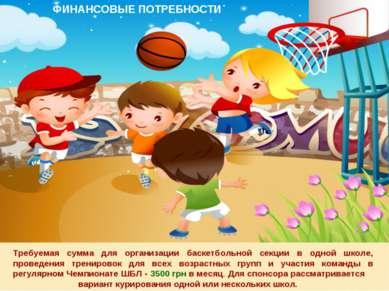 * Требуемая сумма для организации баскетбольной секции в одной школе, проведе...