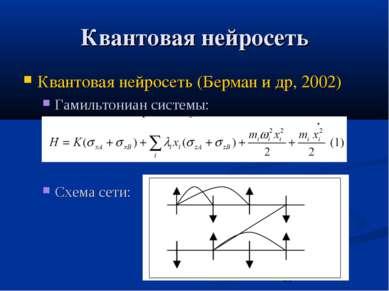 Квантовая нейросеть Квантовая нейросеть (Берман и др, 2002) Гамильтониан сист...