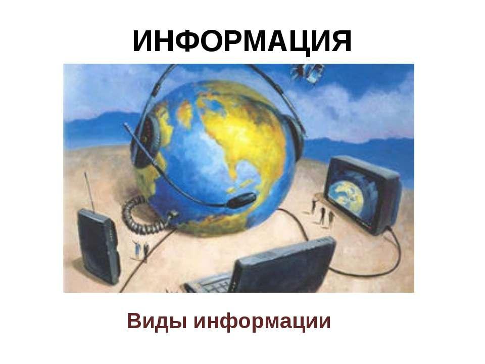 ИНФОРМАЦИЯ Виды информации