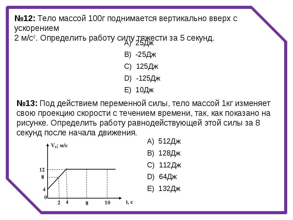 №12: Тело массой 100г поднимается вертикально вверх с ускорением 2 м/с2. Опре...