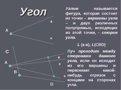 Угол В А а в С D Углом называется фигура, которая состоит из точки – вершины ...