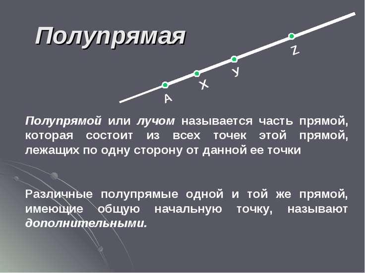 Полупрямая А Х У Z Полупрямой или лучом называется часть прямой, которая сост...