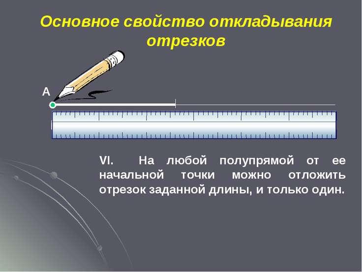 Основное свойство откладывания отрезков VI. На любой полупрямой от ее начальн...