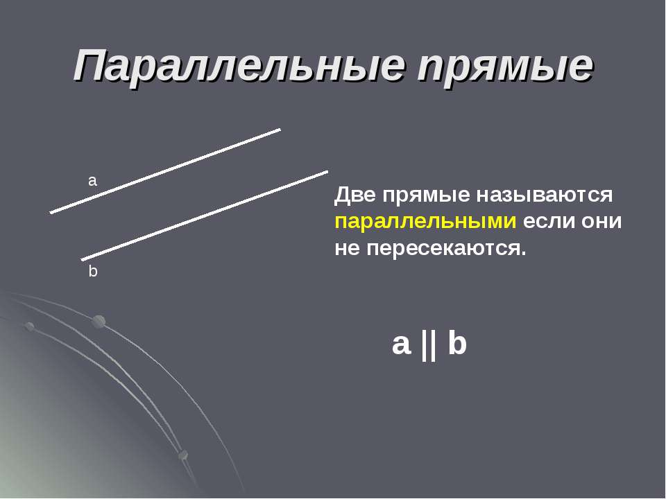 Параллельные прямые а b Две прямые называются параллельными если они не перес...