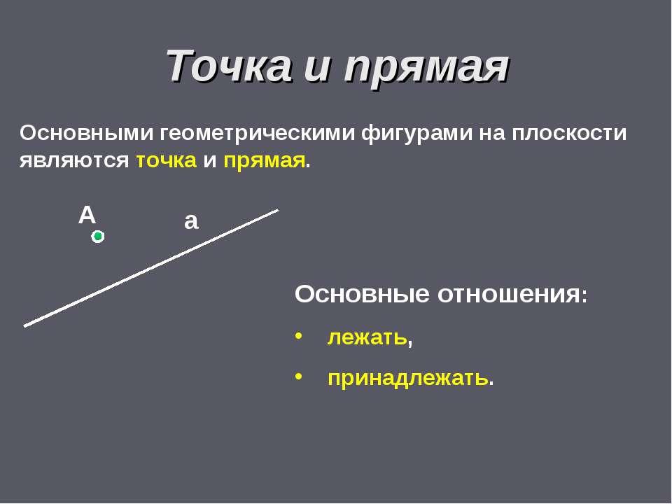 Основными геометрическими фигурами на плоскости являются точка и прямая. Точк...