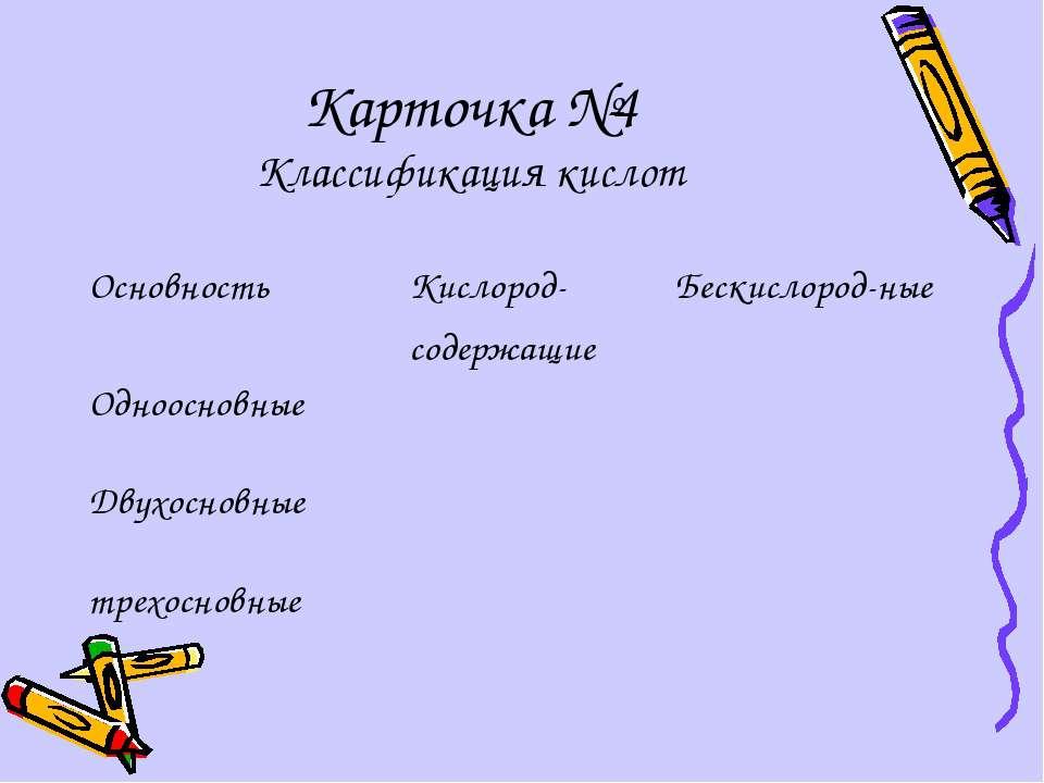 Карточка №4 Классификация кислот Основность Кислород- содержащие Бескислород-...
